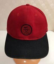 VINTAGE NIKE BASEBALL CAP HAT GOLF Red & Black Strapback 100% Cotton