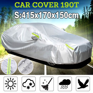 190T Waterproof Sedan Car Cover UV Sun Snow Dust Rain Scratch Resistant Size S