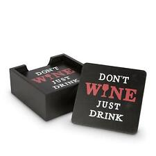 Set of 6 Black Wood Square Wine Coasters Housed in Coaster Container