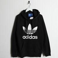Vintage ADIDAS ORIGINALS Big Trefoil Logo Hoodie Sweatshirt Black | Medium M