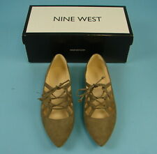 Women's Nine West Merloto Leather Upper Flats Shoes Lace Up Taupe Size 6.5M