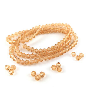 Champagne Czech Crystal Beads Faceted Bicone 3mm Strand Of 100+