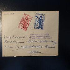 CAMEROUN LETTRE COVER 1943 YAOUNDÉ POUR PARIS DOUBLE CORRECTION ADRESSE INEXACTE