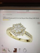 Affinity Diamond 3/4 CtTw Royal Star Ring 14k Gold Engagement Anniversary Size 6