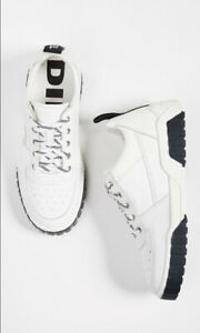 $158 Diesel Men's S-Rua LC Low Sneakers White Leather Shoes Size 8