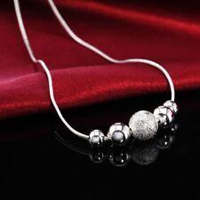 Cadeaux Femme  Noël Alliage Chaîne En Argent Perles Pendentif Collier