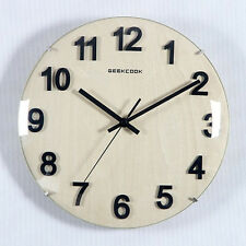 GEEKCOOK Wall Clocks Creative Round Wooden Home Decor Watch Silence 11.8""