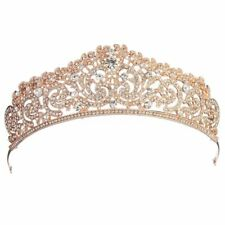 Wedding Bridal gold plated Crystal Rhinestone Pageant Tiara Crown Party Hea V2J5