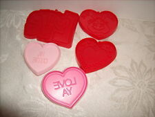 5 Vintage Hallmark Valentine Cookie Cutters - Hearts- Hi Cutie - Hug Bug & LOVE