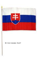 "12x18 Wholesale Lot 3 Slovakia Country Stick Flag 30"" wood staff"