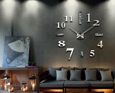 Large Number DIY Wall Clock Frameless 3D Art Stickers Home Decor Gift Favor NEW