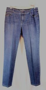 Chicos Platinum Denim Size 2 Regular Blue Jeans Cotton Polyester Blue Pkt Trim