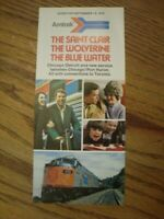 AMTRAK Michigan 1974 Saint Clair Blue Water Wolverine Passenger Train Brochure
