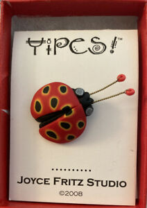 Joyce Fritz Yipes Red  Lady Bug Millefiori  Pin Polymer Clay Bug New