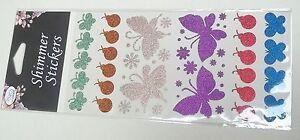 planche avec autocollants strass, coeurs, papillons,fleurs, coccinelles,2  G-T3