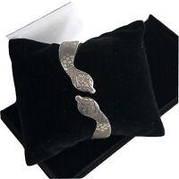 Vintage Style Bangle Bracelet Snake Boho Silvertone 1990s Grunge