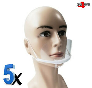 5x Mouth Shield Visor Protection Mouth Mask Shield Transparent Clear Plastic UK