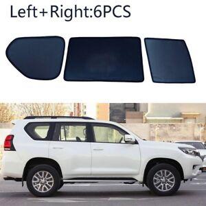 6pcs Side Windows Magnetic Sun Shade UV Ray Blocking Mesh Fit For Toyota Prado