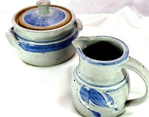 Signed Salt Glaze Gray And Cobalt Blue Hand Crafted Ceramic Cream And Sugar Set