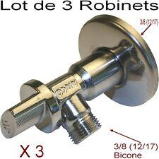 Lot 3 Robinet Bicone Equerre Mâle 12/17 (3/8) Rosace,Robinet Arrêt,Lavabo,Vasque