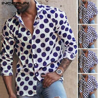 INCERUN Mens Polka Dot Formal Shirt Smart Long Sleeve Collar Neck Causal Tee Top