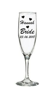 Personalised Wedding Bridal Party Vinyl Decal Champagne Wine glass sticker Date