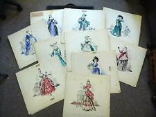 Original Historical Fashion Costume Sketches drawings x10 Simpson 1950s 50s