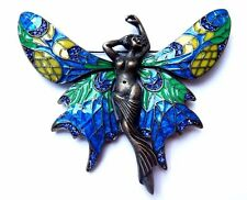 ART NOUVEAU BRONZE FAIRY BROOCH stained glass enamel wings blue crystals pin 2W