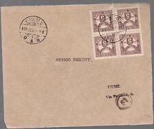 FRONTESPIZIO BUSTA DA FIUME A FIUME 1919  BELLA AFFRANCATURA SEGNATASSE 4 PEZZI
