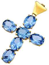 Blue Spinel Cross Pendant Set in 14K Yellow Gold