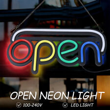 19.7x9.8 inch Open Sign Neon Led Light Bulb Commercial Lighting Shop w/ Chain