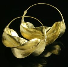 "Extra Large Fulani brass hoop earrings ""kwotene kange"" African (2 1/8"" wide)"