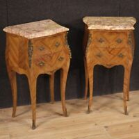 Pair of bedside tables inlaid furniture with marble top antique style 2 drawers