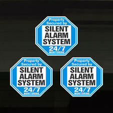 Security Silent Alarm Property Warning Set of 3 Durable Decal Stickers 4.1 x 3.8