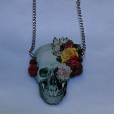 Gothic Skull Flower Statement Wood  Necklace /Pendant  Steampunk