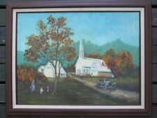 Original COUNTRY CHAPEL CHURCH Oil Painting Framed Estate Antique Art Signed