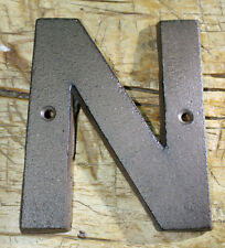 """Cast Iron Industrial LETTER N Sign Rustic Brown 5"""" tall Alphabet"""