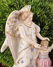 Vintage Bateau De L'eau Bénite Bénitier Figure De L'ange Porcelaine Shabby