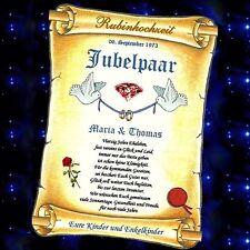 RUBINHOCHZEIT Rubin Hochzeit 40. Hochzeitstag GESCHENK Urkunde auch mit Foto und