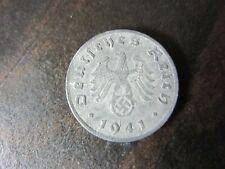 Original WWII Nazi Germany 1 Reichspfennig Swastika Coin 1941 G