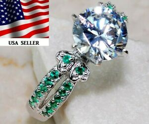3CT Emerald & White Topaz 925 Solid Sterling Silver Ring Jewelry Sz 6, M4