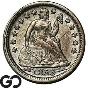 1853 Seated Liberty Dime, W/ Arrows Tougher Collector Date Type Coin
