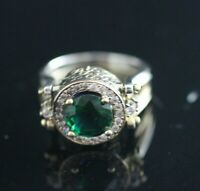Turkish Handmade Sterling Silver 925 Jewelry Emerald Ladies Ring 7 8 9