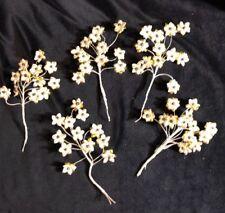 60 Vintage Christmas Gold Foil Bead Floral Flower Corsage Stem Craft Pick Tie On