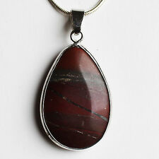Semi-Precious Teardrop Stone Pendant on Silver Chain - Red-Brown Jasper