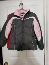 London Fog Winter Coat Girls large 14/16 Pink Gray Jacket Snow Ski WARM