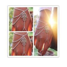 Boho Hippie Tassel Slave Bracelet Bangle Finger Ring Harness Hand Chain Beach