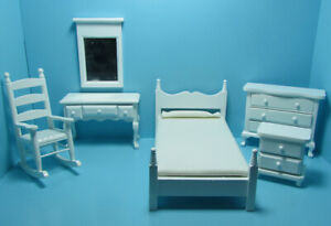 Dollhouse Miniature Complete Wood Bedroom Set in White 6 Pieces EMWF671