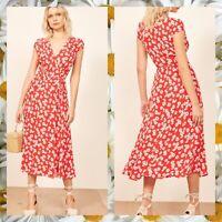 Reformation Carina Midi Wrap Dress In Oopsie Daisy Size XS
