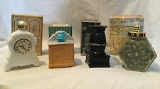 Avon Lot of 4 Decanter Bottle Nib Vintage Clock Washstand Country Store Stove